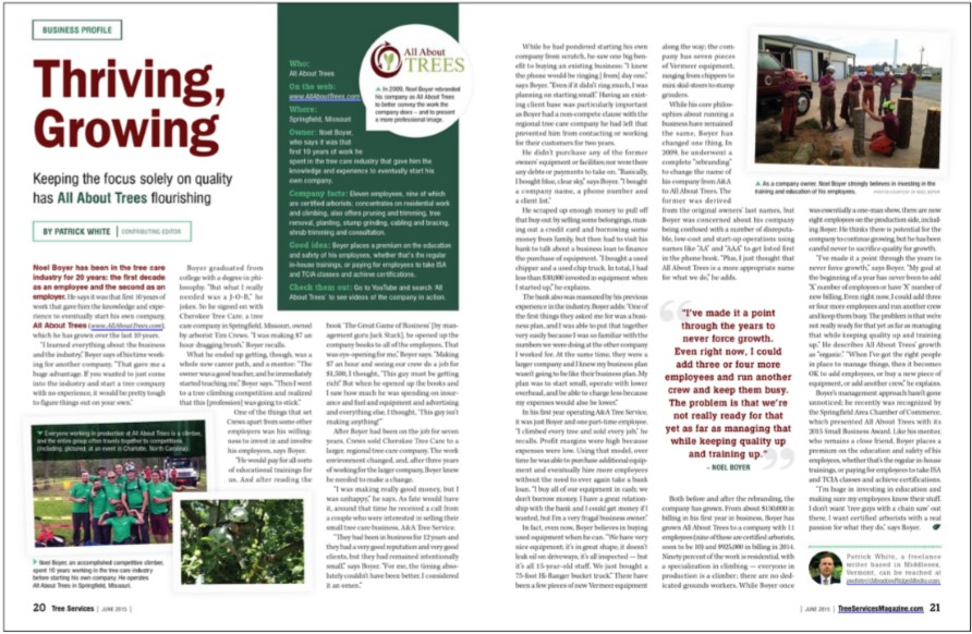 Click To Read All About Trees feature in June 2015 Tree Services Magazine - Tree Service Springfield MO
